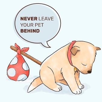 Cão abandonado design de mão desenhada