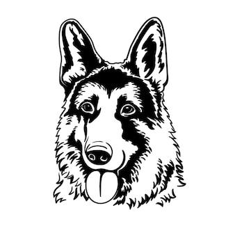 Cão alemão silhueta linha arte template closeup clip art pintura à mão tinta preto e branco