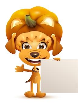 Cão amarelo mascarado de halloween vestido lanterna de abóbora máscara. isolado na ilustração branca dos desenhos animados