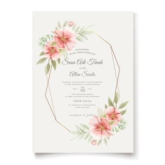 Cão aquarela elegante rosa flores cartão de convite de casamento