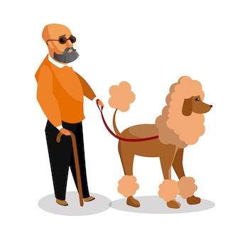 Cão assistente que ajuda o desenho liso humano.