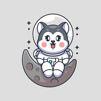 Cão astronauta husky fofo sentado na lua