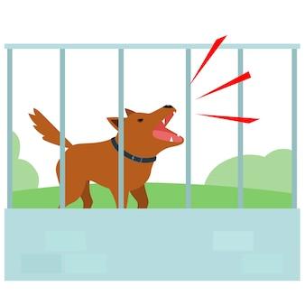 Cão barulhento latindo na cerca do vizinho