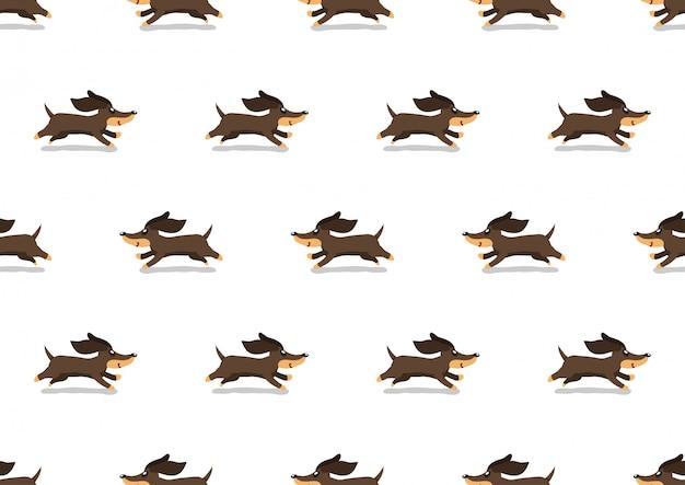 Cão bassê bonito dos desenhos animados sem costura de fundo