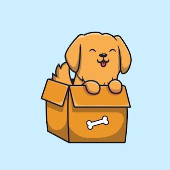 Cão bonito brincando na caixa de desenho animado