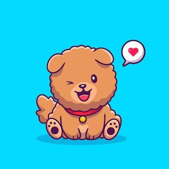 Cão bonito chow chow sentado com bolha do discurso de amor. ilustração de ícone dos desenhos animados. conceito de ícone de amor animal isolado premium. estilo cartoon plana