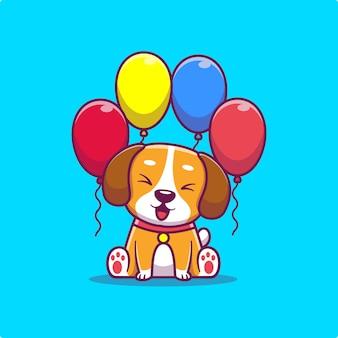 Cão bonito com balões