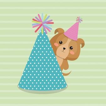 Cão bonito com cartão de aniversário de kawaii de festa de chapéu