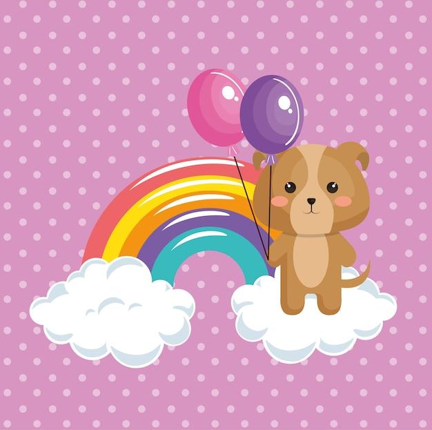 Cão bonito com cartão de aniversário do arco-íris kawaii