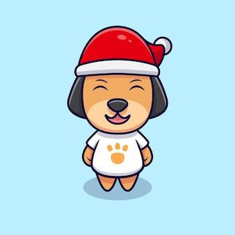 Cão bonito com ilustração de ícone dos desenhos animados de chapéu de natal. estilo flat cartoon