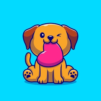 Cão bonito com ilustração dos desenhos animados de amor. estilo flat cartoon