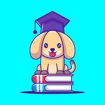 Cão bonito com livro ilustração dos desenhos animados. conceito de estilo de desenho animado animal
