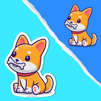 Cão bonito corgi comendo osso desenho animado, design de personagens de etiqueta.