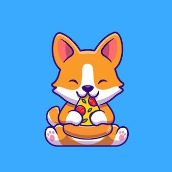Cão bonito corgi comendo pizza cartoon ícone ilustração. conceito de ícone de comida animal isolado. estilo flat cartoon