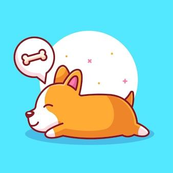 Cão bonito corgi dormindo e sonhando logotipo de animal de estimação ícone ilustração vetorial em estilo simples