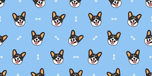 Cão bonito corgi galês tricolor sorrindo desenho animado padrão sem emenda, ilustração vetorial