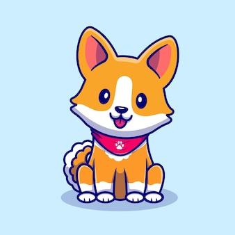 Cão bonito corgi sentado cartoon ilustração vetorial de ícone. conceito de ícone de natureza animal isolado vetor premium. estilo flat cartoon