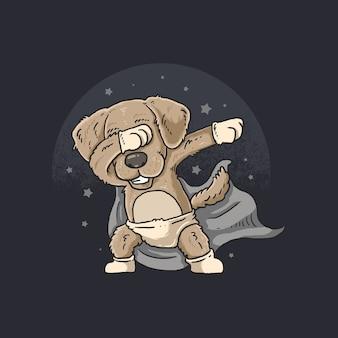 Cão bonito dança dabbing com estrela no céu