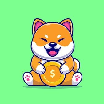 Cão bonito de shiba inu com ilustração de ícone de vetor de moeda de ouro dos desenhos animados. conceito de ícone de negócio animal isolado vetor premium. estilo flat cartoon