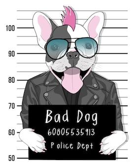Cão bonito desenhado de mão com ilustração de óculos de sol