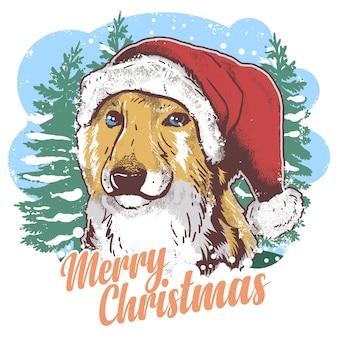 Cão bonito do chapéu de natal do papai noel com arte finala da neve