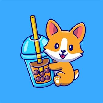 Cão bonito do corgi com ilustração do ícone do vetor dos desenhos animados do chá do leite boba. conceito de ícone de bebida animal isolado vetor premium. estilo flat cartoon