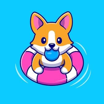 Cão bonito do corgi flutuando com natação. estilo flat cartoon