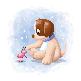 Cão bonito dos desenhos animados, brincando com formiga ilustração vetorial