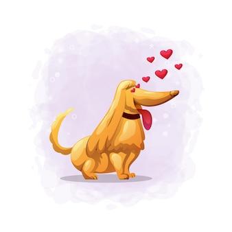 Cão bonito dos desenhos animados cair na ilustração de amor