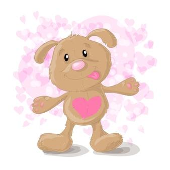Cão bonito dos desenhos animados com corações.