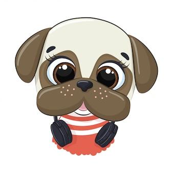 Cão bonito dos desenhos animados com fones de ouvido, ouvir música
