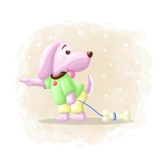 Cão bonito dos desenhos animados com vetor de ilustração de osso