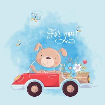 Cão bonito dos desenhos animados em um caminhão com flores