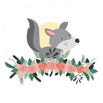 Cão bonito e adorável com decoração floral