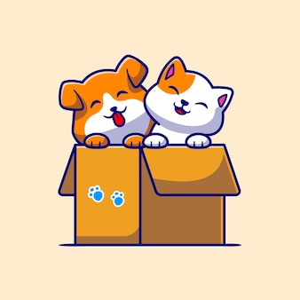 Cão bonito e gato bonito que joga na caixa dos desenhos animados vector icon ilustração. conceito de ícone de natureza animal isolado vetor premium. estilo flat cartoon