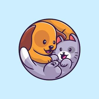 Cão bonito e ilustração dos desenhos animados do gato. conceito de ícone de animais selvagens