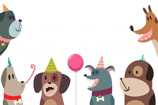 Cão bonito em chapéus de festa