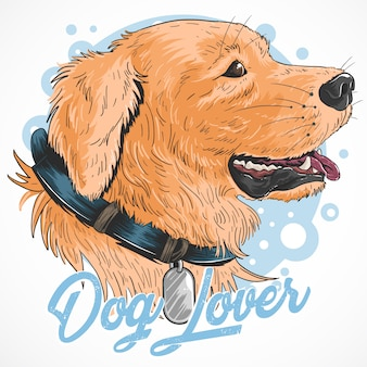 Cão bonito ilustração dourada