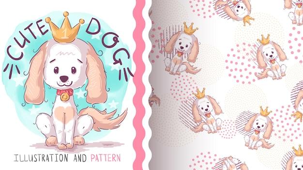Cão bonito kig - padrão sem emenda