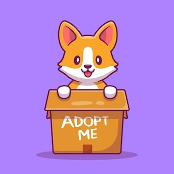Cão bonito na ilustração dos desenhos animados da caixa. conceito de ícone de animal