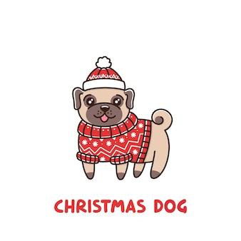 Cão bonito pug de raça com uma camisola e um chapéu vermelhos da fair isle