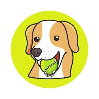 Cão bonito que come a ilustração tirada mão dos desenhos animados da bola de tênis.