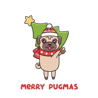 Cão bonito raça pug com chapéu e lenço com árvore de natal