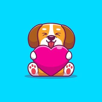 Cão bonito segurando coração