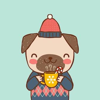 Cão bonito segurando xícara de chocolate quente