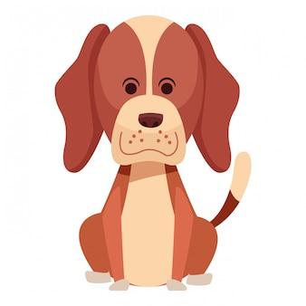 Cão bonito sentado ícone dos desenhos animados