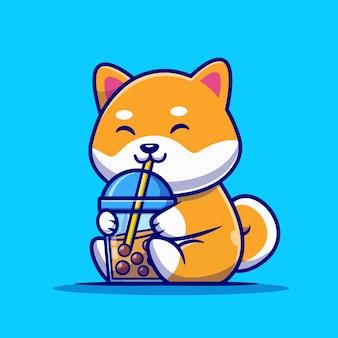 Cão bonito shiba inu beber leite chá boba desenho animado