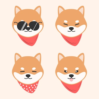Cão bonito shiba inu com cachecol cartoon doodle animal
