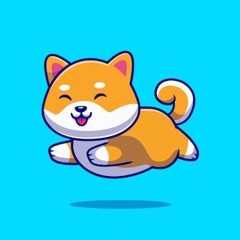 Cão bonito shiba inu executando ilustração do ícone dos desenhos animados.