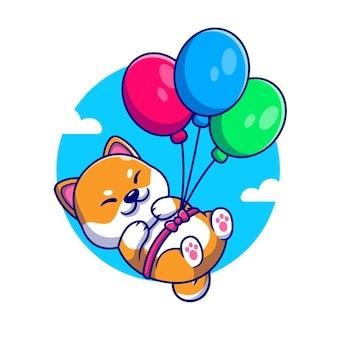 Cão bonito shiba inu flutuando com ilustração dos desenhos animados de balão.